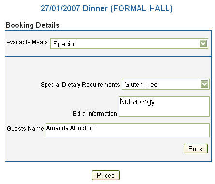 Formal Hall Booking