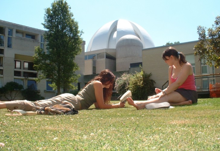 Students reading on the grass outside Murray Edwards College