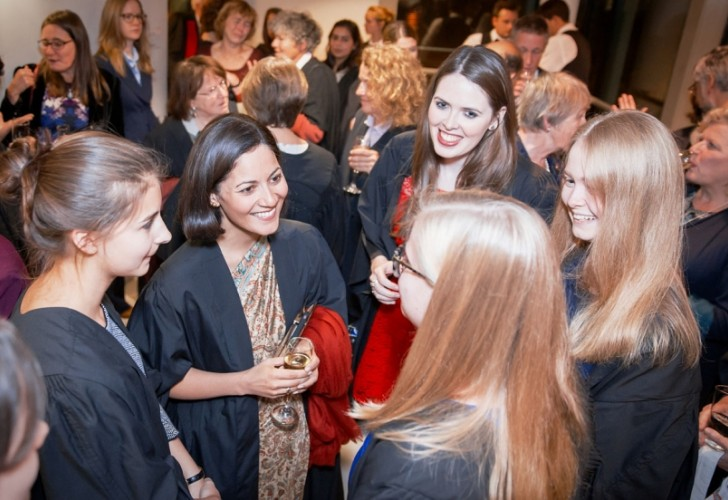 Photo of Mishal Husain speaking to Murray Edwards College students