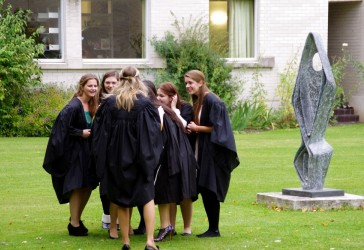 Photo of students at matriculation in the garden