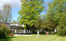 Photo of the outside walkway and gardens