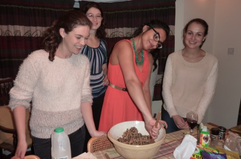 Photo of students making mince pies at Christmas