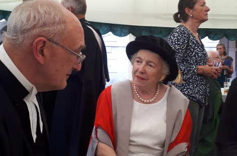 Dame Stephanie Shirley pictured with Sir Leszek Krzysztof Borysiewicz, Vice Chancellor of the University of Cambridge